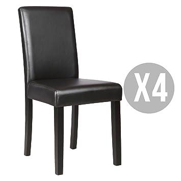 Kitchen Dinette Dining Room Chair Elegant Design Leather BackrestSet Of 4 Black
