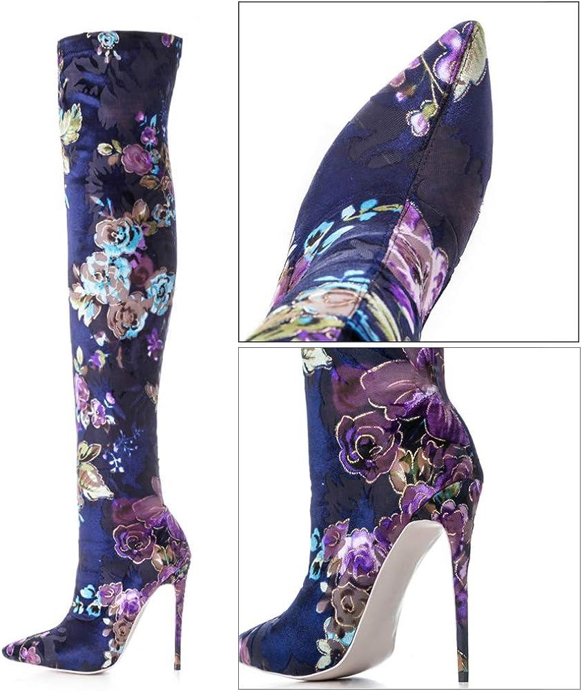 YQSHOES Printemps Et Automne De Style Chinois Stretch Sur Les Bottes Au Genou Chaussures À Talons Hauts Bottes À La Mode Bottes Femmes Blue