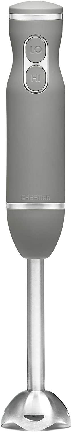 Chefman Immersion Stick Hand Blender with Stainless Steel Blades, Powerful Electric Ice Crushing 2-Speed Control Handheld Food Mixer, Purees, Smoothies, Shakes, Sauces & Soups, Grey