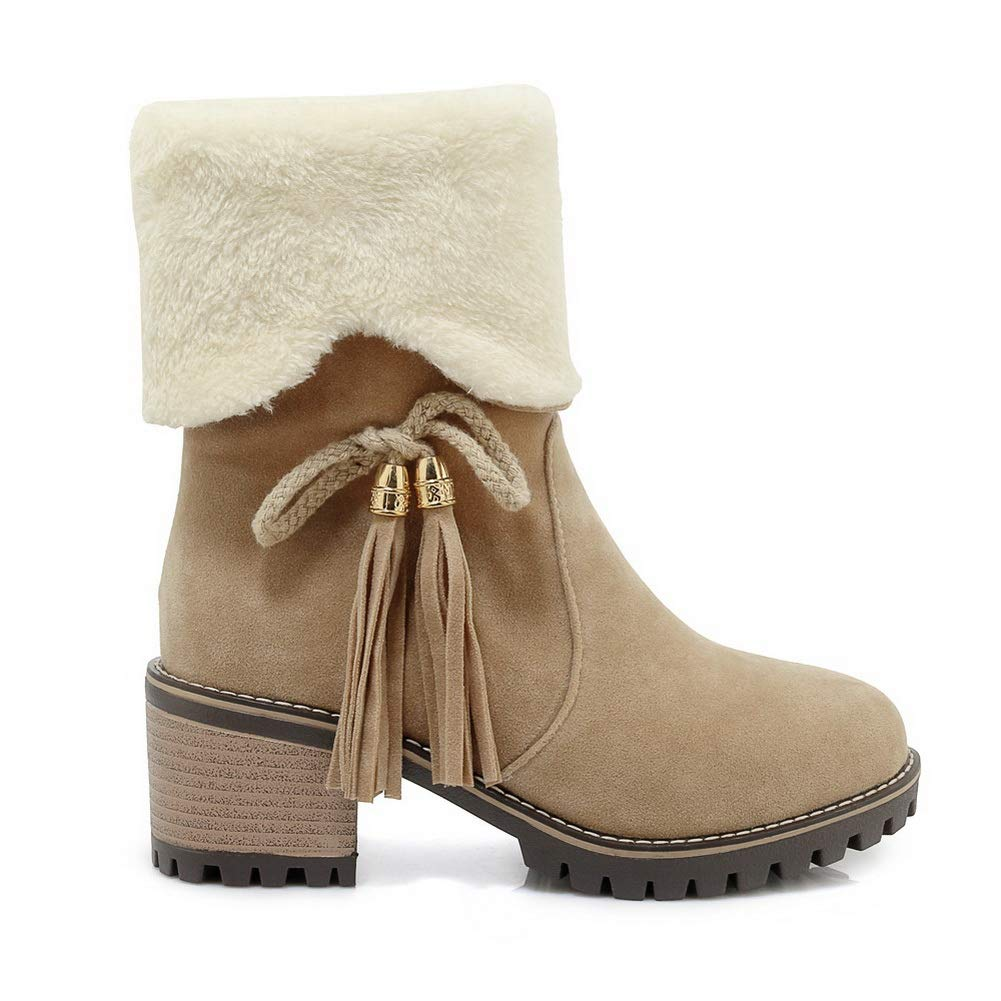 AN Womens Chunky Heels Tassels Bows Imitated Suede Boots DKU02183