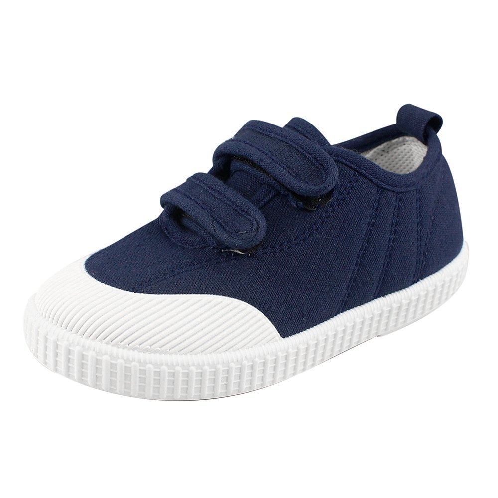 Boys' Girls' School Shoe Kids Lightweight Canvas Casual Low Top Sneakers Slip-On Loafers, Navy 7.5 M
