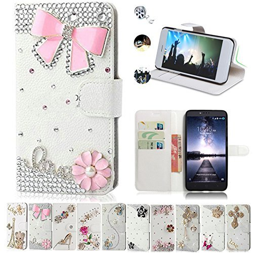 ZTE Zmax Pro Case, ZTE Carry Cases, AMASELL Glitter Bling Diamonds [Stand View] PU Leather Flip & Card Slots Holder Folio Wallet Cases for ZTE Zmax Pro / Carry Z981 Cover, pink bowknot (Zte Zmax Phone Case Wallet Bling)