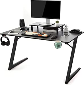 """TOPSKY Gaming Computer Desk Home Office Gaming Table with Cup Holder Headphone Hook Z Shaped Leg(47.2"""", All Black)"""
