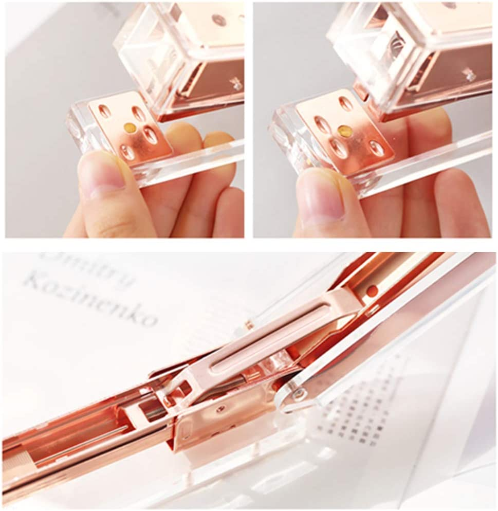 kuou Acrylic Staplers Small Office Stapler Transparent Spring Powered Desktop Stapler with 1000 PCS Rose Gold Staples for Home School Office Supplies Stationery Desk Accessory