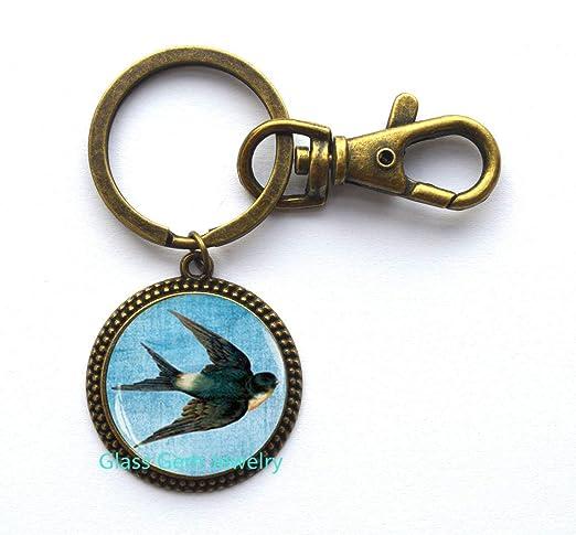 Llavero de golondrina, joyería de pájaros, llavero de animal ...