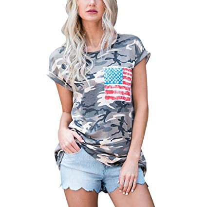 49b9a5c86e10 Womens Teen Girls T Shirt Camouflage Short Sleeve Round Neck Funny Casual T  Shirts Tops Blouse Fashion Tee with US Flag Pocket for Women Teens on Sale  ...