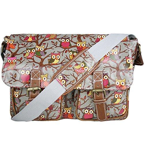 Bolso para la escuela estilo mensajero para mujer con flores y lunares, con correa al hombro, de tela impermeable Owl Grey