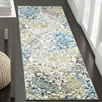 Safavieh Water Color Collection WTC669B Ivory and Peacock Blue Runner, 22 x 8