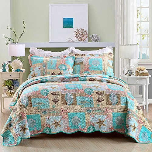 Bedding Discount Quilts (Gravan 3-Piece Queen Quilt Sets with Shams Oversized Bedding Bedspread Coverlet Set, Ocean World Printed)