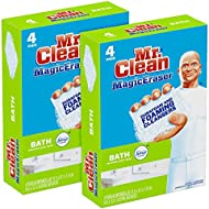 Mr. Clean Magic Eraser Bath, Cleaning Pads with Durafoam, Meadows & Rain,4 Count (Pack of 2)