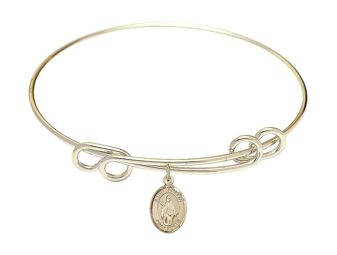 Amelia Charm. DiamondJewelryNY Double Loop Bangle Bracelet with a St