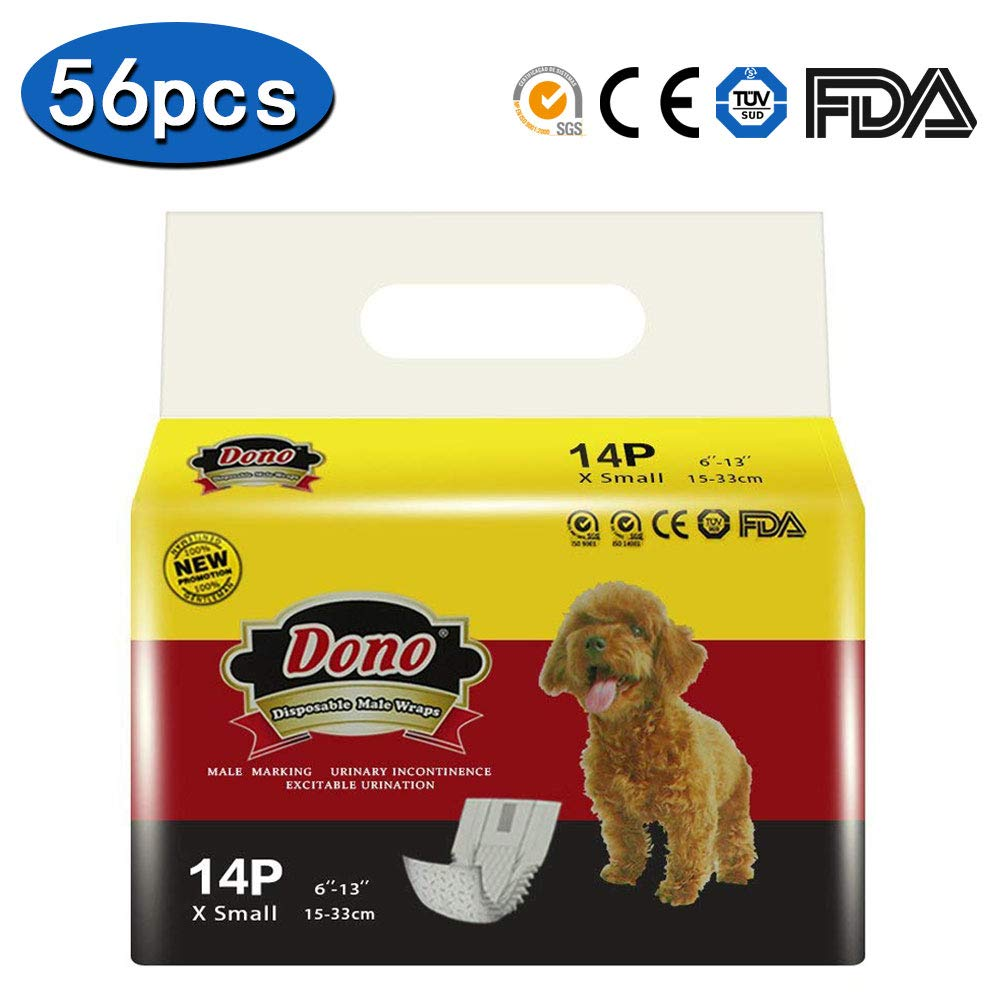 Disposable Male Wraps Dog Diapers - Dono Super Absorbent Soft Diapers for Male Dogs,With Wetness Indicator,56pcs,XS (6''-13'')