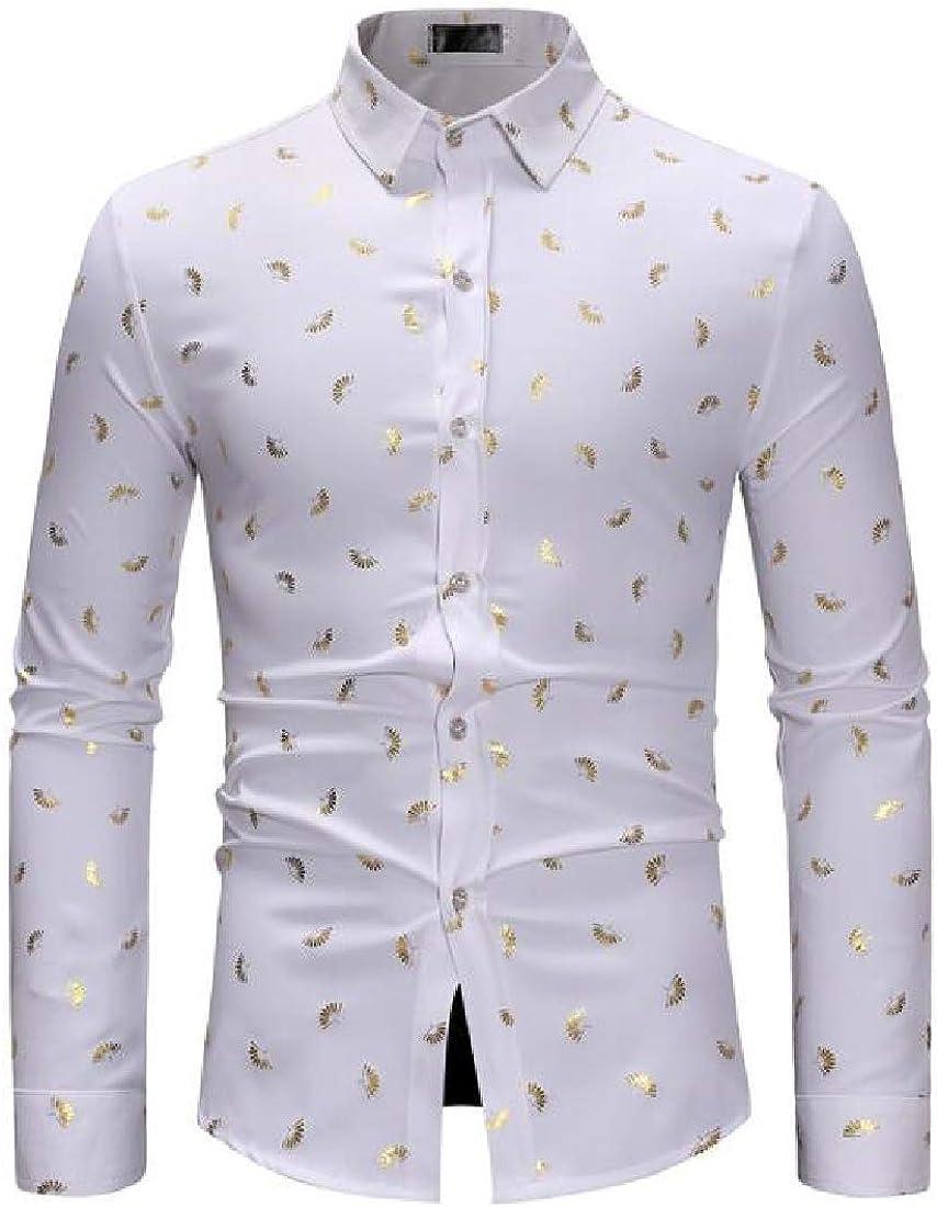 SELX Men Shirts Stand Collar Long Sleeve Print Button Up Dress Shirts