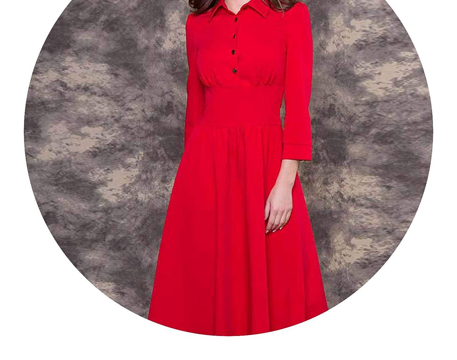Vintage Style Dress Solid Color Three Quarter Dress with Button Autumn Vestidos, M at Amazon Womens Clothing store: