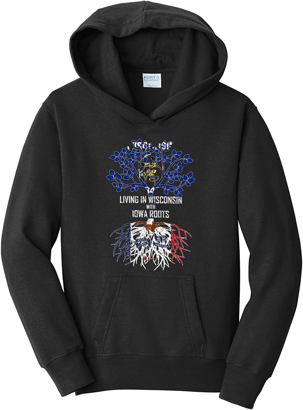 Large Tenacitee Girls Youth Living in Wisconsin with Iowa Roots Hooded Sweatshirt Black