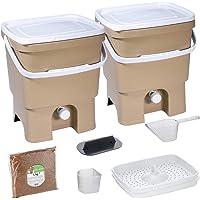 Skaza Bokashi Organko Set (2 x 16 L) Compostador 2X de Jardín y Cocina de Plástico Reciclado | Starter Set con EM…