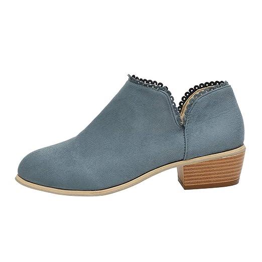 JiaMeng Moda Mujer Otoño E Invierno Plano Botines Calentar Pelaje Botas De Nieve Atada Zapatos Botines con Punta Redonda Boots clásicos Zapatos Informales: ...