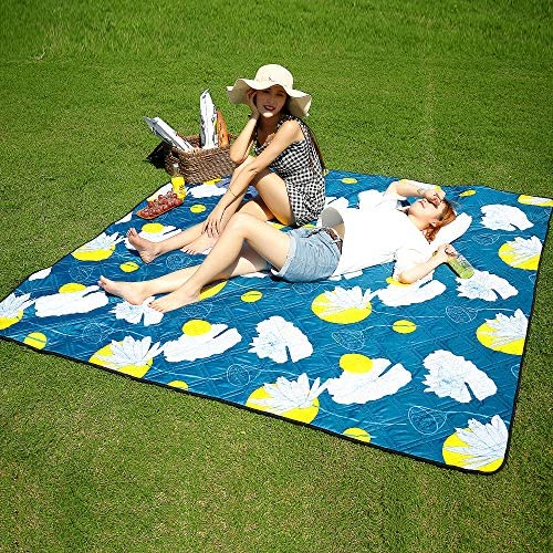 Three Donkeys Waterproof Picnic Blankets Washable, 79 x79 XLarge Picnic Blanket for Outdoor Picnics, Beach, Camping Blue