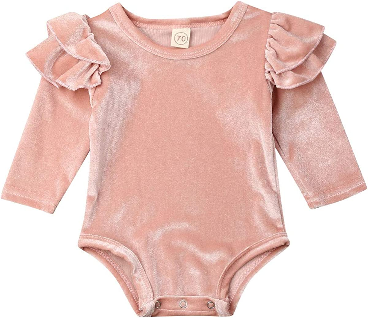 Toddler Baby Girl Velvet Clothes Newborn Long Sleeve Ruffle Bodysuit Solid Pink Romper One-Piece Outfits