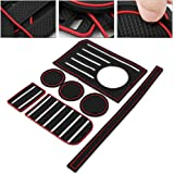 Chompoo Custom Interior Cup Holder Mat Fit Toyota Tundra 2014-2019 Center Console Liner Acessories 7 PCS Kit