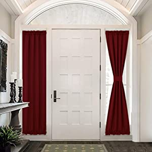 PONY DANCE French Door Curtains - Front Door Decor 25 x 72 inch Red 2 Panels Room Darkening Decorative Curtains Including Bonus Tiebacks Door Window Covers