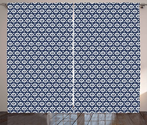 """Ambesonne Ikat Curtains, Circles with Dots Ornate Pattern Vintage Design Traditional Asian, Living Room Bedroom Window Drapes 2 Panel Set, 108"""" X 63"""", Blue White"""