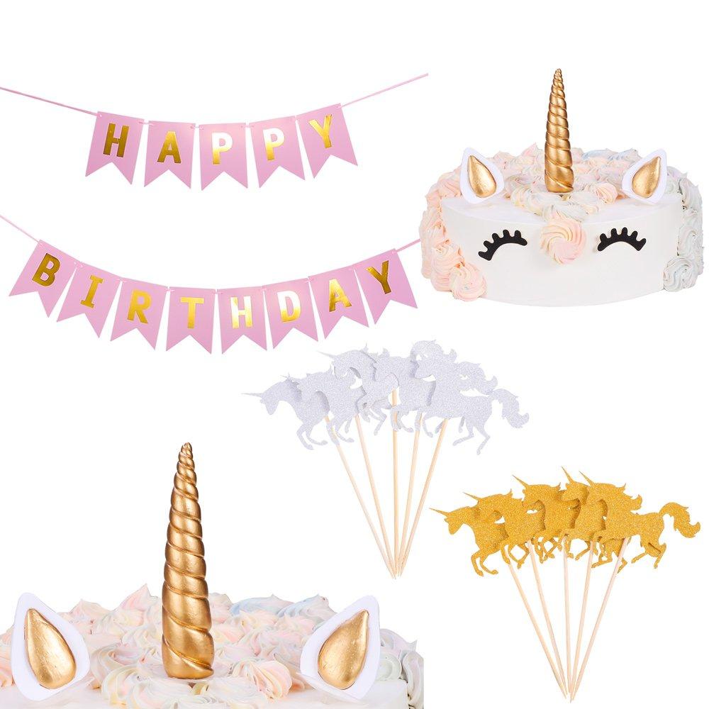 Antner Unicorn Cake Topper, Reusable Unicorn Horn, Ears, Unicorn Cupcake Toppers, HAPPY BIRTHDAY Banner for Baby Shower Wedding Party