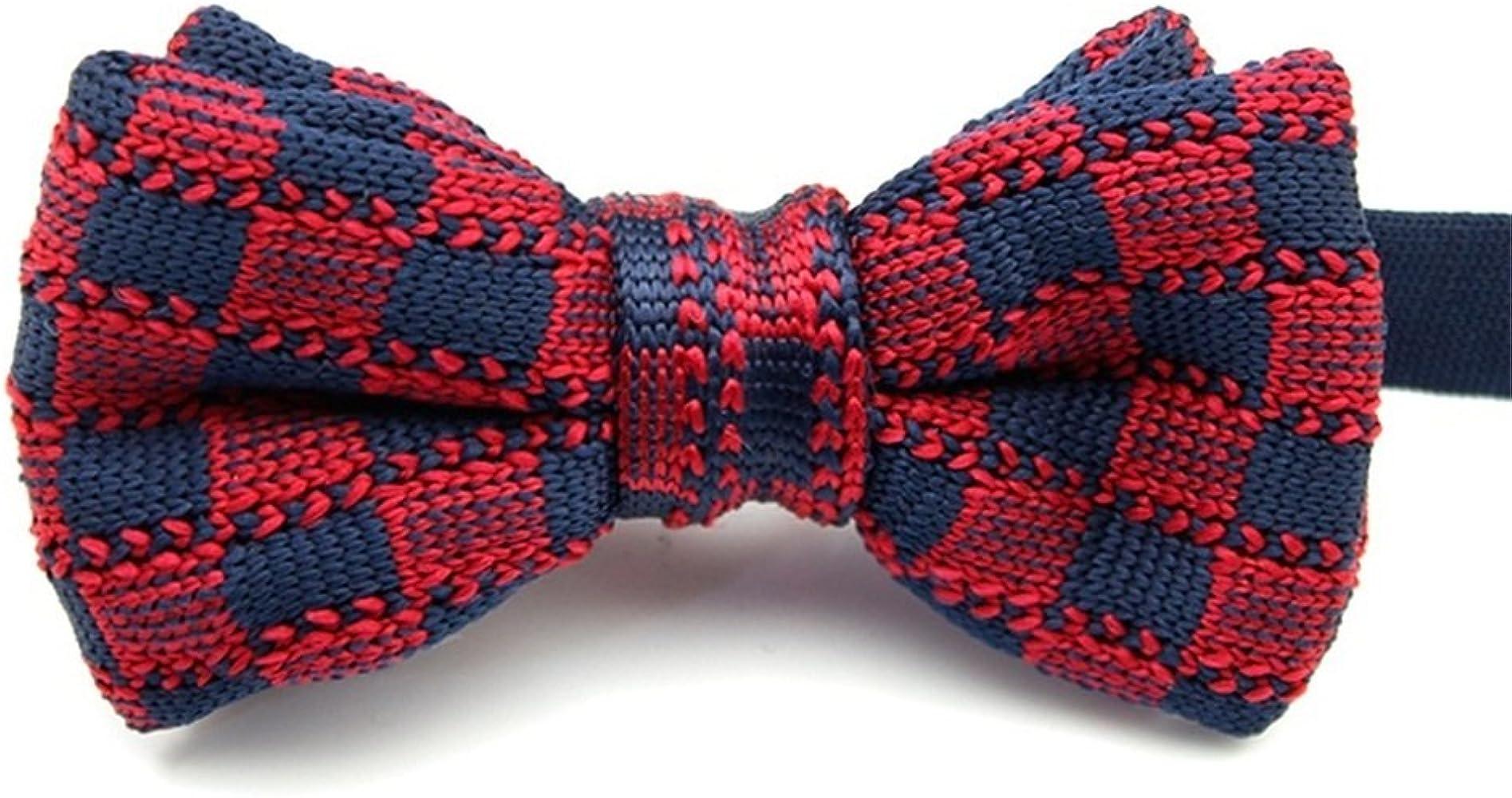 Huyizhi Los hombres de tejer pajarita rojo y azul pajarita ...