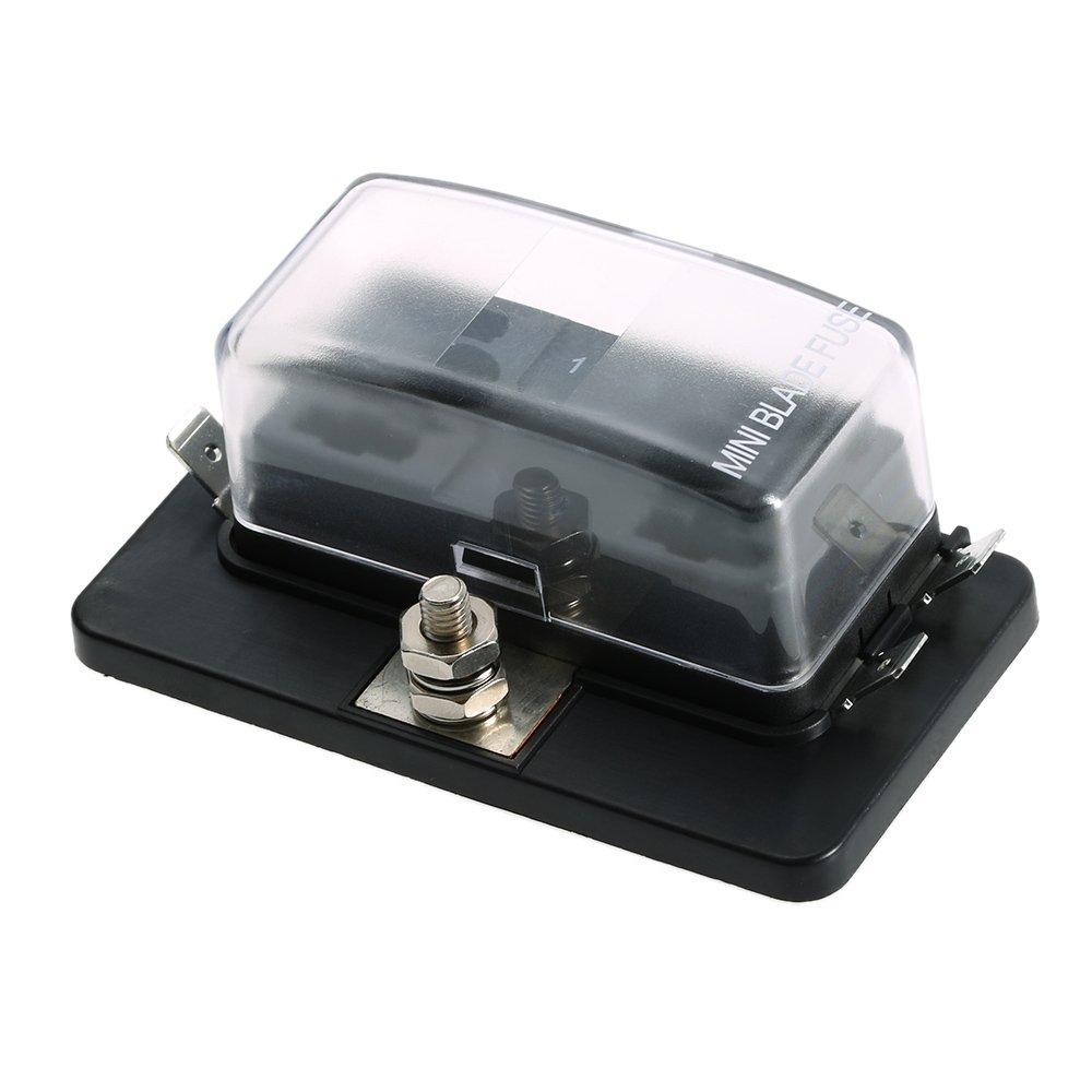 KKmoon 4 Way Mini Blade Fuse Box Holder APM ATM 5A 10A 25A for Car Boat Marine Trike 12V 24V