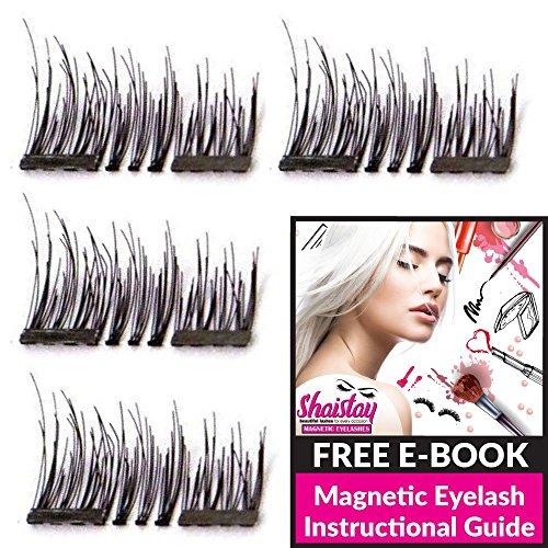 Magnetic Eyelashes False Eyelashes Fake Eyelashes Natural No Glue Individual Lashes Extensions Reusable 3 Magnets Full Eye Artificial Eyelashes 2 Pairs/8Pcs