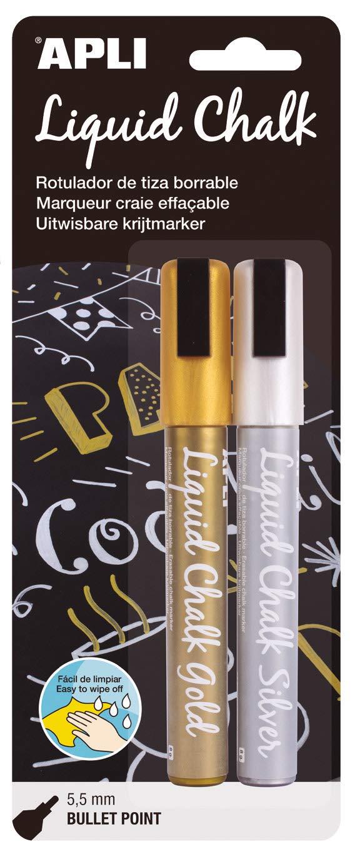 APLI 0148472Chalk Marker Pen, Round Tip, Gold/Silver