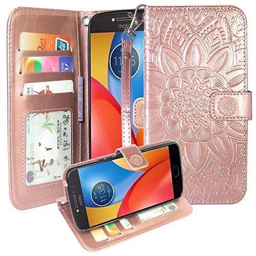 Moto E4 Plus Case, Harryshell Wrist Strap Kickstand Flip PU Leather Wallet Protective Case Cover with Card Slot for Motorola Moto E Plus (4th Generation) (Rose Gold) (Soft Case Motorola Leather Carry)
