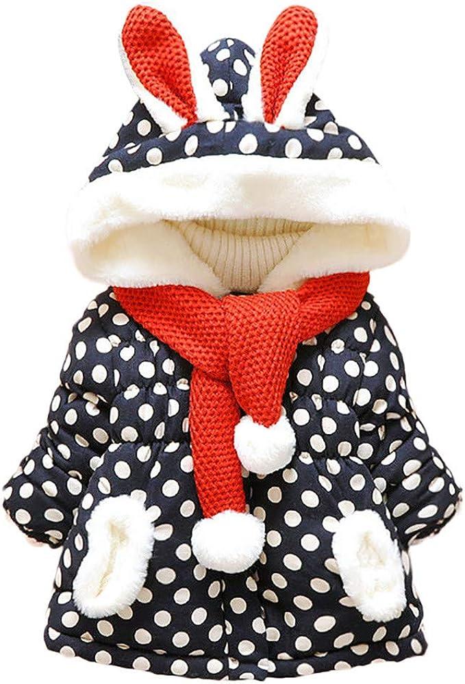 Mbby Cappotto di Piumino Neonato Invernale 0-5 Anni Capispalla Bambina Ragazze con Cappuccio E Silenziatore Cotton Caldo Addensare Antivento Giacche Imbottito Giubbotti