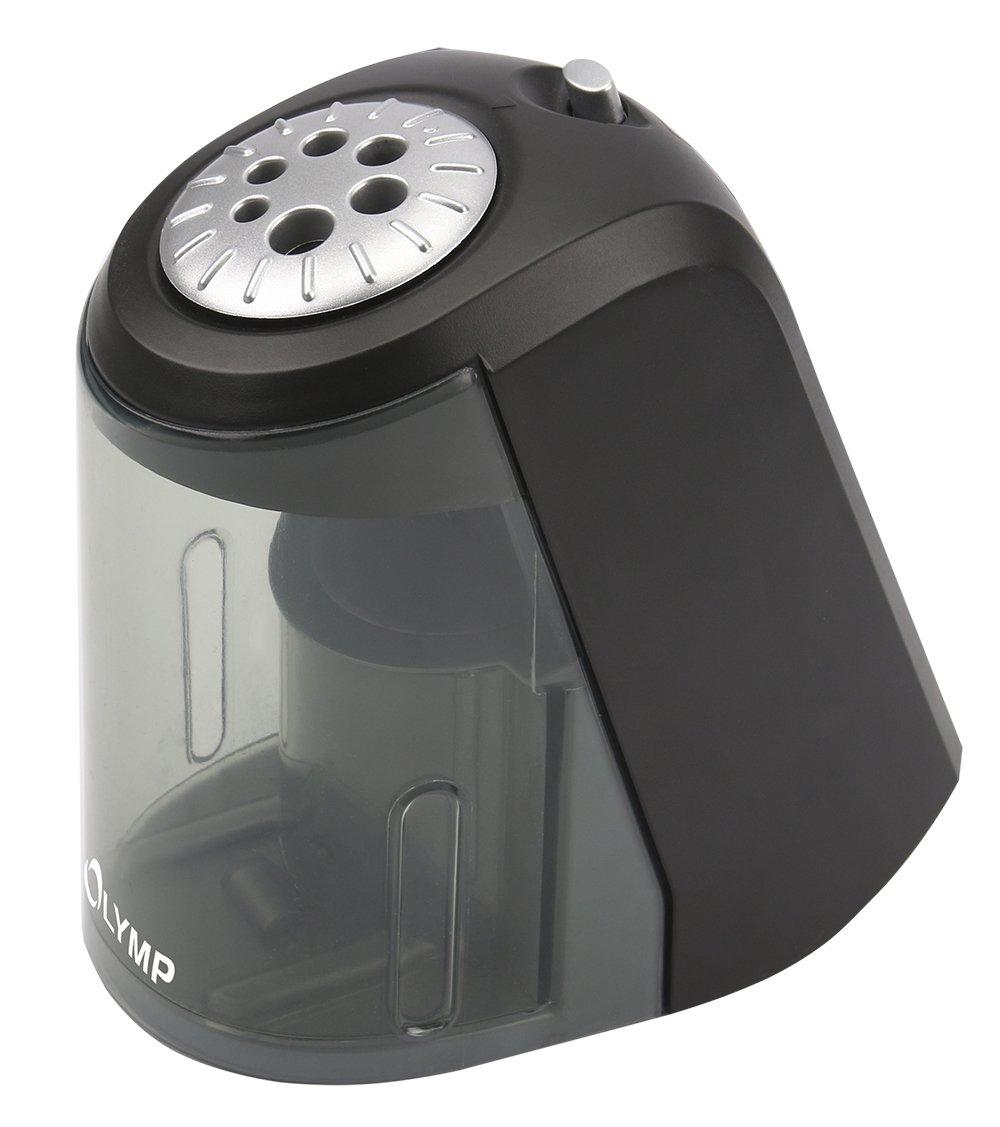 Olymp AS 607 Elektrischer Spitzer (Bleistifte, Buntstifte, Kohlestifte, Bleistift-Spitzer mit Dose/Behälter aus Kunststoff, Anspitzer von 6 bis 11 mm Durchmesser)