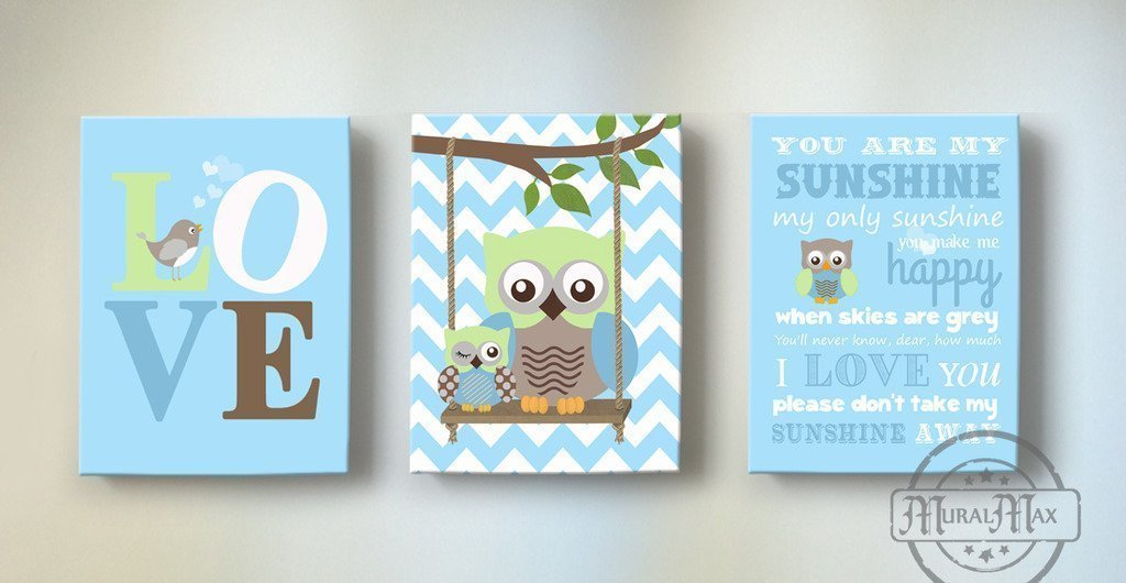 MuralMax – You Are My Sunshine Nursery Rhyme For boy - Unique Nursery Art Baby boy - Make Your New Baby Gifts Memorable – Set Of 3 - Color: Aqua - Canvas Size 8x10 - 30-DAY