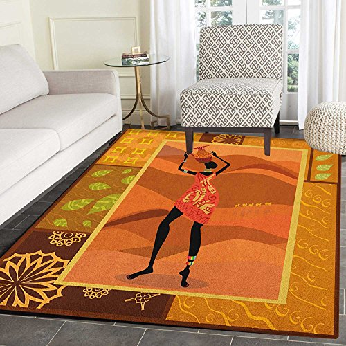 African Woman Anti-Skid Area Rug Frame with Natural Autumn Elements Native Girl with Vase Exotic Zulu Print Door Mat Increase 5'x6' Multicolor -
