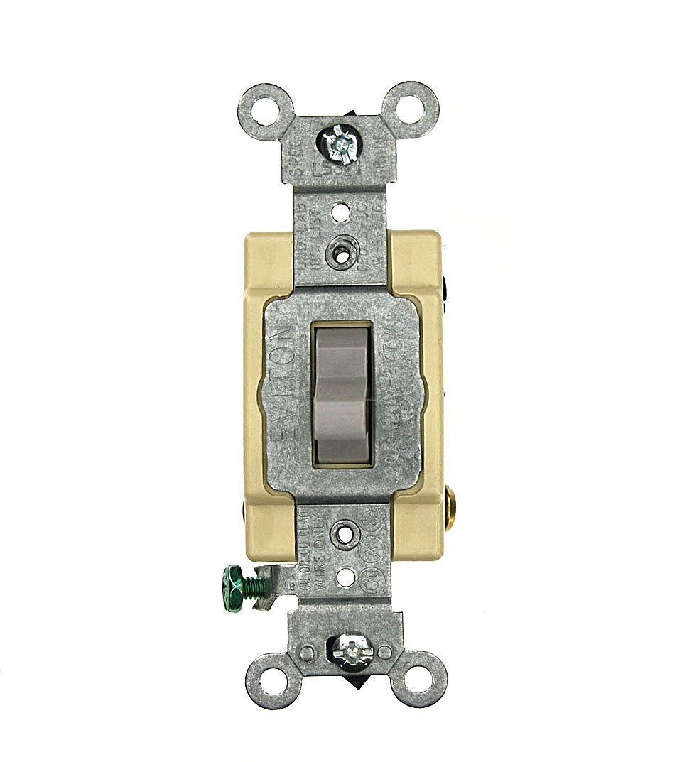 Leviton CSB4-20G 20 Amp, 120/277 Volt, Toggle 4-Way AC Quiet Switch, Commercial Grade, Grounding, Gray