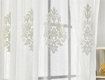 Tende Di Tulle Ricamato : Beige tessuto di pizzo fiori doppi pizzo ricamato cotone morbido