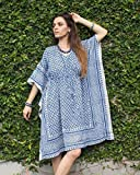 SIVALYA Keywest Organic Cotton Womens Kimono Dress | Great for Casual Wear and as Lounge Wear | Indigo