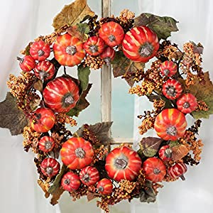 Factory Direct Craft Fall Harvest Artificial Pumpkin and Berry Wreath or Table Centerpiece Candle Ring 88