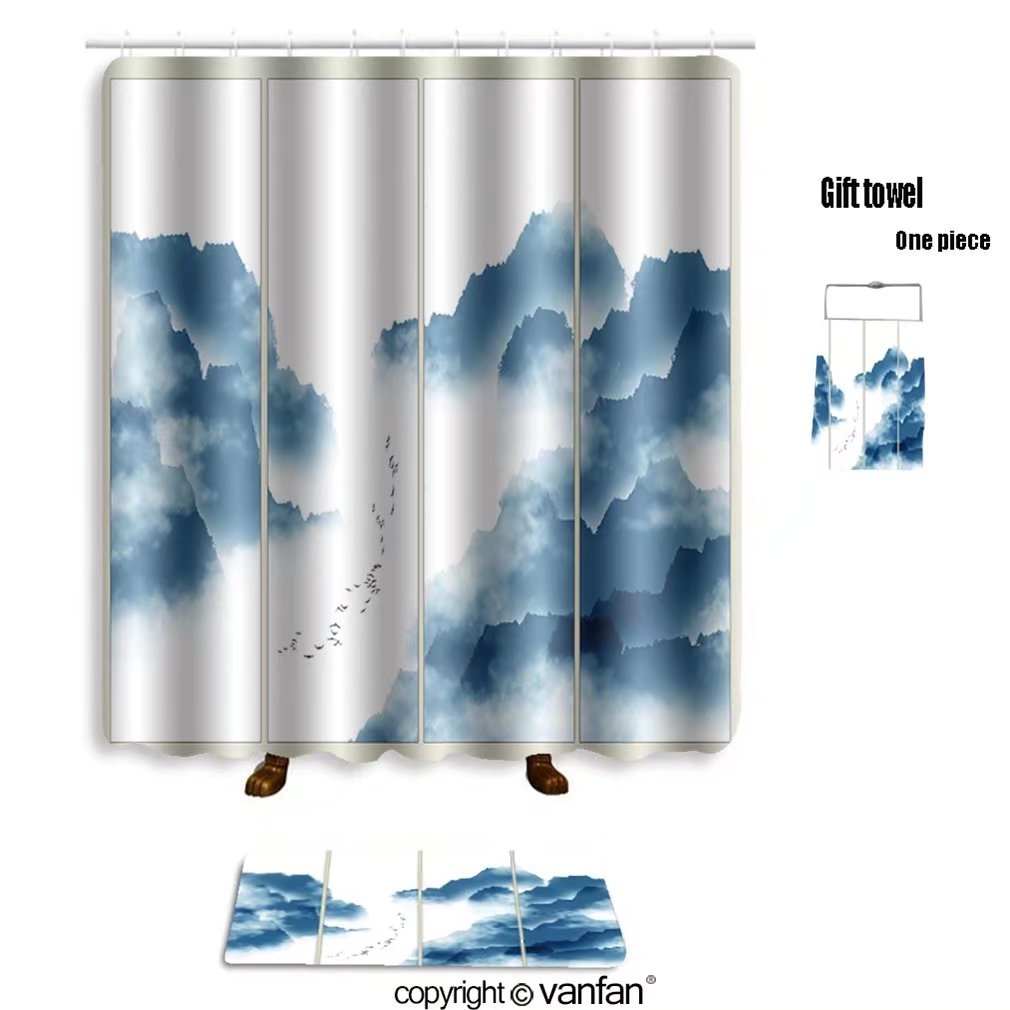vanfan bath sets with Polyester rugs and shower curtain chinese ink landscape painting 556853665 shower curtains sets bathroom 72 x 108 inches&31.5 x 19.7 inches(Free 1 towel and 12 hooks)