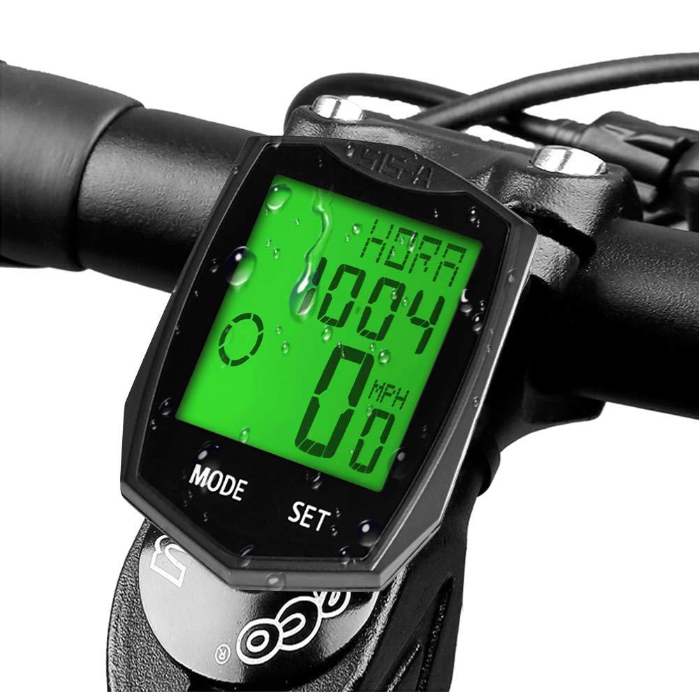 DINOKA Ordinateur de vélo, Ordinateur de vélo sans fil étanche Compteur de vitesse pour vélo Compteur kilométrique rétroéclairage LCD Affichage Suivi de la distance Vitesse Temps 5 Langue Réversible product image