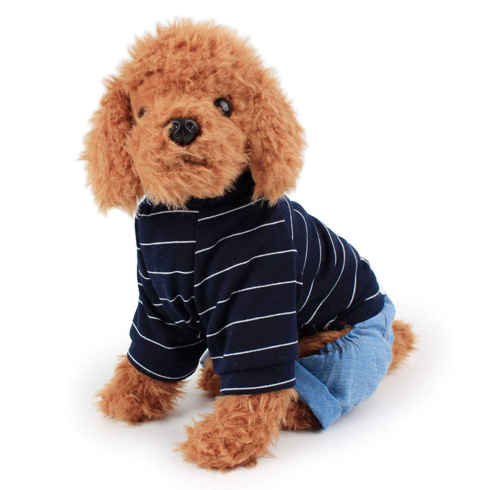 bluee M bluee M HUIFANG Autumn and Winter New Phi Phi Pet Clothes YP Fish Bone Pattern Wool Two-Legged Sweater A (color   bluee, Size   M)