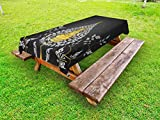 Lunarable Asian Outdoor Tablecloth, Ancient Religious Thai Character with Floral Elements Meditation, Decorative Washable Picnic Table Cloth, 58 X 84 Inches, Charcoal Grey White Yellow
