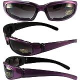 Pacific Coast Sunglasses Chix Rally Padded Motorcycle Sunglasses Translucent Purple/Black Frames Gradient Smoke Lens