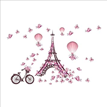 Autocollant Muralstickers Muraux Papillon Rose Paris Tour Pour