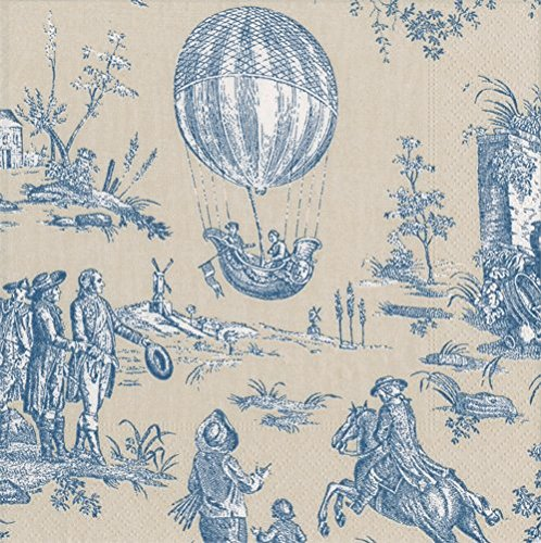 Cocktail Napkins Party Supplies French County French Provincial Toile Blue Pk 40 - Provincial Cocktail