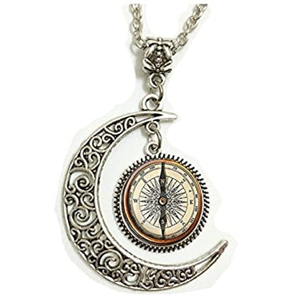 Bonlting Steampunk Compass Pendant Necklacevintage Moon Jewelry Necklace