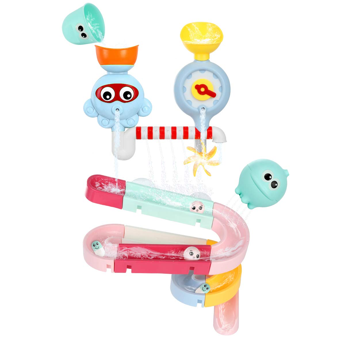 Auggie Toddler Bath Toys Bathtub Tub Toy Splash Water Spinning Gear Waterfall Ball Track Set Wall Bathtime Toy for 1 2 3 4 Years Old Kids Boys Girls
