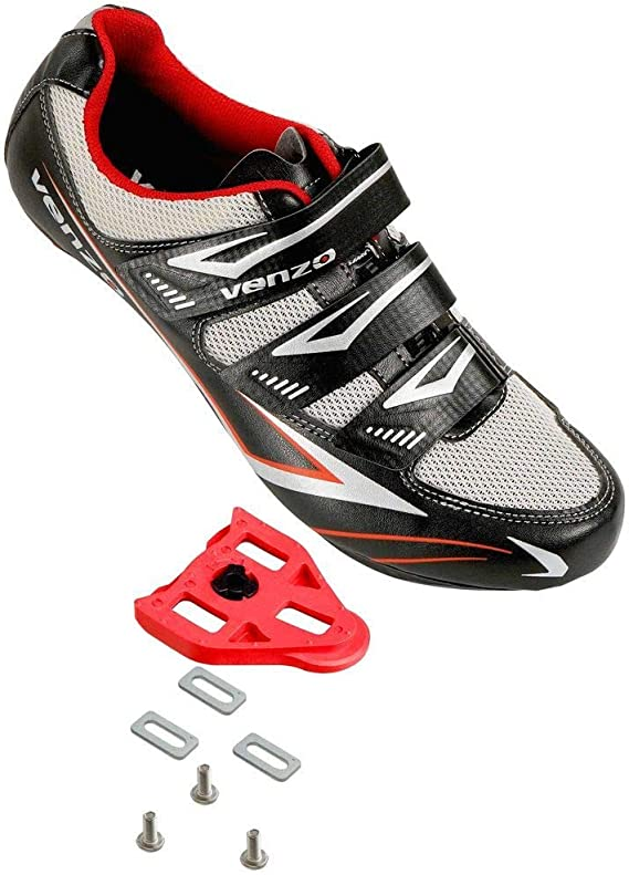 Venzo Bicycle Men's or Women's Road Cycling Riding Shoes - 3 Straps- Compatible with Peloton Shimano SPD & Look ARC Delta - Perfect for Indoor Spin Road Racing Bikes Black